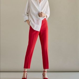 Massimo Dutti slim fit coral trousers